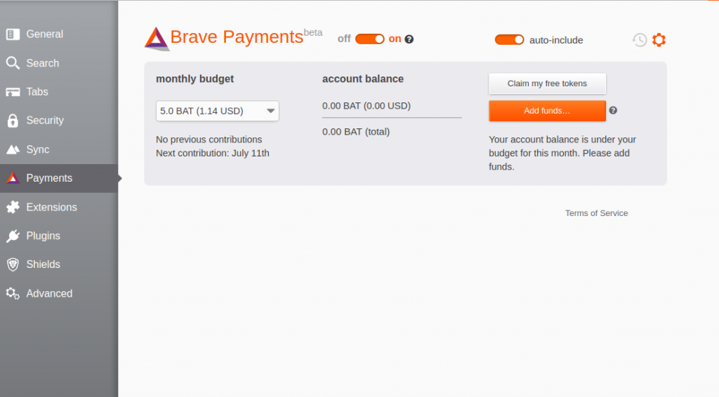 Brave Payments Settings